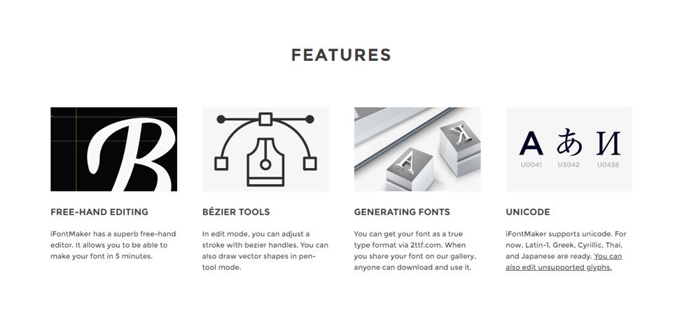 ifontmaker features